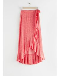 & Other Stories Ruffle Wrap Maxi Skirt - Red