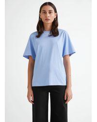 & Other Stories Kastenförmiges T-Shirt Aus Biobaumwolle - Blau