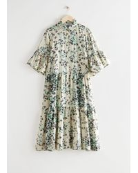 & Other Stories Tiered A-line Midi Shirt Dress - Natural