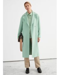 & Other Stories Relaxed Belted Coat - Green