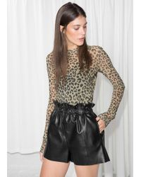 & Other Stories - Paperbag Waist Leather Shorts - Lyst