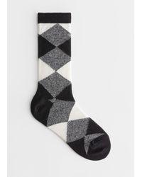 & Other Stories Diamond Check Ankle Socks - Black