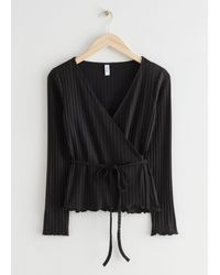 & Other Stories Fitted Ribbed Wrap Top - Black