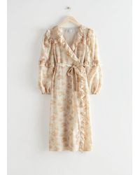 & Other Stories Voluminous Ruffle Wrap Midi Dress - Natural