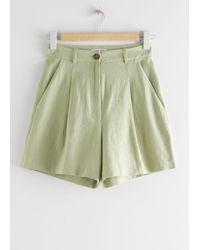 & Other Stories High Waisted Linen-blend Shorts - Green