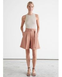 & Other Stories Wide Belted Press Crease Shorts - Orange