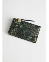 & Other Stories Smooth Leather Card Zip Wallet - Green