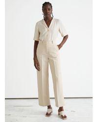 & Other Stories Wide Press Crease Pants - Natural
