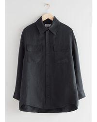 & Other Stories Oversized Linen Blend Shirt - Black