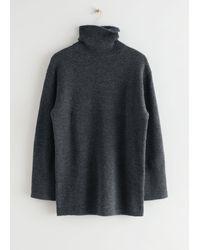 & Other Stories Oversized Turtleneck Knit Jumper - Grey