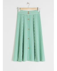 & Other Stories Striped Flared Midi Skirt - Green