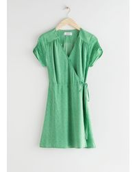 & Other Stories Micro Floral Wrap Mini Dress - Green