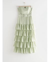 & Other Stories Ruffled Strapless Midi Dress - Green