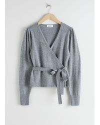 & Other Stories Wool Alpaca Blend Wrap Cardigan - Gray