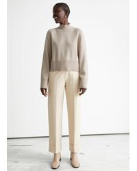 & Other Stories Relaxed Press Crease Trousers - Natural
