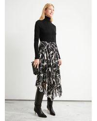 & Other Stories Pleated Asymmetric Midi Skirt - Black