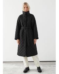 & Other Stories Quilted Belted Banana Sleeve Coat - Black