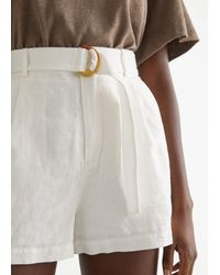 & Other Stories Belted Linen Pleat Shorts - White