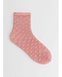 & Other Stories Diamond Fishnet Socks - Orange