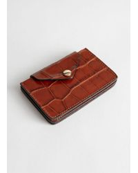 & Other Stories Leather Card Holder - Orange