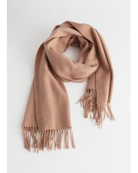 & Other Stories Wool Fringed Blanket Scarf - Natural