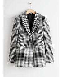 & Other Stories Tailored Gingham Blazer - Black