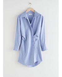 & Other Stories Asymmetric Mini Shirt Dress - Blue