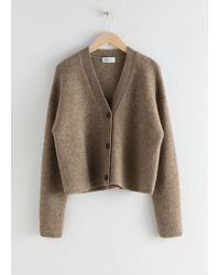 & Other Stories Boxy Wool Blend Classic Cardigan - Brown