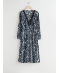 & Other Stories Buttoned Floral Print Lace Midi Dress - Black