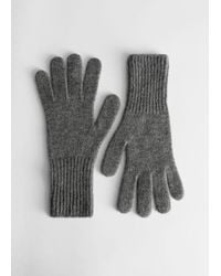 & Other Stories Cashmere Knitted Gloves - Gray