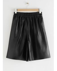 & Other Stories Pull-on Leather Shorts - Black