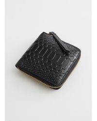 & Other Stories Embossed Leather Zip Wallet - Black