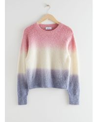 & Other Stories Striped Knit Jumper - White