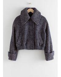 & Other Stories Wool Blend Herringbone Jacket - Blue