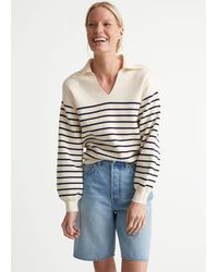 & Other Stories Relaxed Collared Sailor Stripe Jumper - White