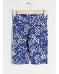 & Other Stories Coffee Bean Printed Cycling Shorts - Blue