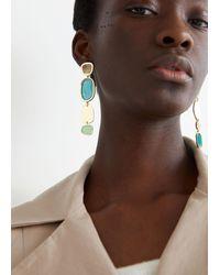 & Other Stories Colour Block Mismatch Hanging Earrings - Multicolour