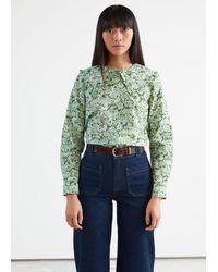 & Other Stories - Ruffled Collar Cotton Denim Shirt - Lyst