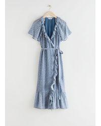 & Other Stories Ruffled Midi Wrap Dress - Blue
