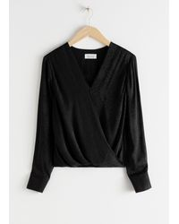 & Other Stories Wrap Top - Black