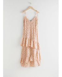 & Other Stories Ruffled Shoulder Tie Maxi Dress - Natural