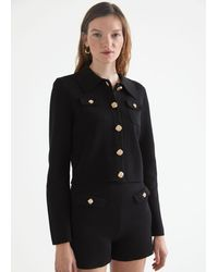 & Other Stories Gold Button Tweed Jacket - Black
