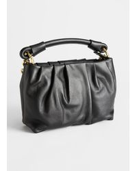 & Other Stories Gathered Leather O-ring Bag - Black