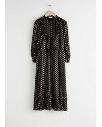 & Other Stories Printed Ruffle Bib Midi Dress - Black