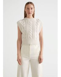 & Other Stories Fitted Cable Knit Vest - White