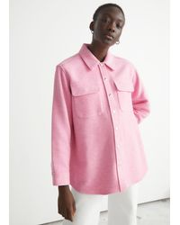 & Other Stories Oversized Wool Blend Overshirt - Pink