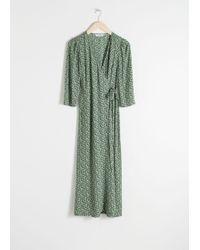 & Other Stories Midi Wrap Dress - Green