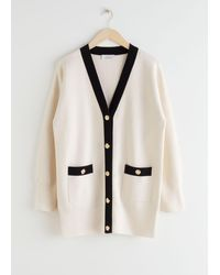 & Other Stories Oversized Gold Button Cardigan - White