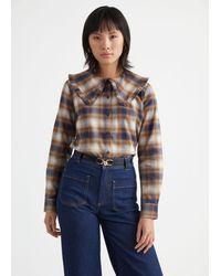 & Other Stories Ruffled Collar Cotton Shirt - Natural