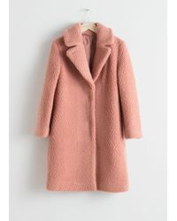 & Other Stories Faux Shearling Teddy Coat - Pink